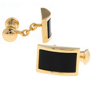 Gold Chain Design with Black Onyx Cufflinks (V-CF-G703-G)