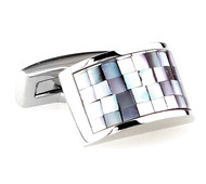 Mosaic Iridescent Mother-of-Pearl Arch Cufflinks (V-CF-G64054GY-S)