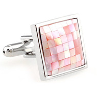 Pink Mosaic Mother of Pearl Cufflinks (V-CF-60635MP-P)