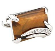 Emerald Cut Tiger's Eye & Swarovski® Crystal Cufflinks (V-CF-C913BR-S)