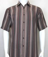 Bassiri Burgundy Spiral Design Short Sleeve Camp Shirt