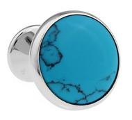 Knob Style Genuine Turquoise Cufflinks (V-CF-G407BL)