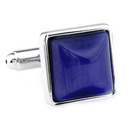 Blue Cat's Eye Stone Square Cufflinks (V-CF-G66604BL)