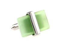 Green Cat's Eye Stone Cufflinks (V-CF-G50673GR)
