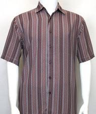 Bassiri Burgundy Zig-Zag Design Short Sleeve Camp Shirt