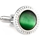 Green Cat's Eye Stone Round Cufflinks (V-CF-G66548GR)