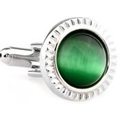 Green Cat's Eye Stone Round Cufflinks (V-CF-G66548GR)