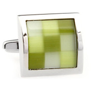 Green Checkerboard Cat's Eye Cufflinks (V-CF-50702GR)