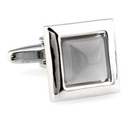 Grey Cat's Eye Stone Square Cufflinks (V-CF-G62172GY)