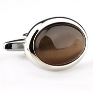 Large Oval Brown Cat's Eye Cufflinks (V-CF-G50387-BR)
