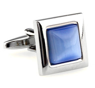 Light Blue Cat's Eye Stone Square Cufflinks (V-CF-G62172LB)