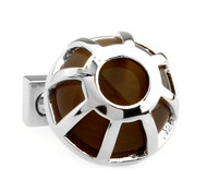 Round Dome Brown Cat's Eye Cufflinks (V-CF-G511BR)