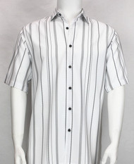 Bassiri White Multi Line Design Short Sleeve Camp Shirt