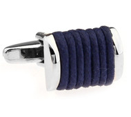 Navy Blue Silk Rope Cufflinks (V-CF-S6495DB)