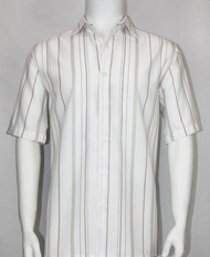 Bassiri White and Tan Multi Line Design Short Sleeve Camp Shirt