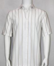 Bassiri White and Tan Multi Line Design Short Sleeve Camp Shirt