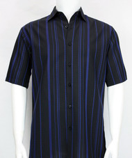 Bassiri Black and Royal Multi Line Design Short Sleeve Camp Shirt