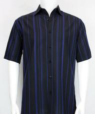 Bassiri Black and Royal Multi Line Design Short Sleeve Camp Shirt