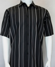 Bassiri Black and White Multi Line Design Short Sleeve Camp Shirt