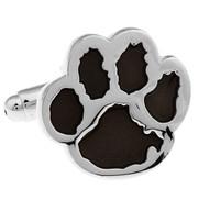 Black Enamel Paw Print Dog Cufflinks (V-CF-E401B)