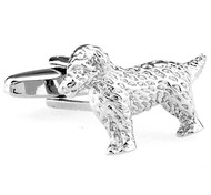 Furry Dog Silver Cufflinks (V-CF-M61153S)