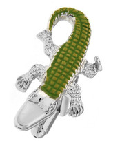 Green Enamel Alligator Cufflinks (V-CF-E1190-16G)
