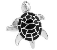 Enameled Black Turtle Cufflinks (V-CF-E56476B-S)