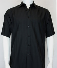 Bassiri Black Solid Tone with Vertical Weave Short Sleeve Camp Shirt