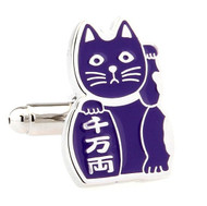 Maneki-neko Good Fortune Cat Purple Cufflinks (V-CF-70962PR)
