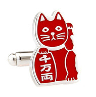 Maneki-neko Good Fortune Cat Red Cufflinks (V-CF-70962R)