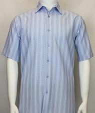Bassiri Blue Multi-Stripe Short Sleeve Camp Shirt