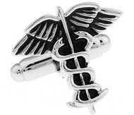 Caduceus Medical Symbol Cufflinks (V-CF-M478-S)