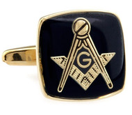 Masonic Black Enamel Gold Setting Cufflinks (V-CF-50496G)