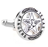 Silver Texas Ranger Lawman Badge Cufflinks (V-CF-59119-S)