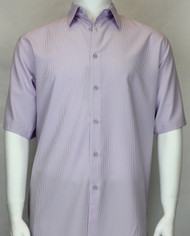Bassiri Solid Purple Tone with Vertical Stripe Short Sleeve Camp Shirt