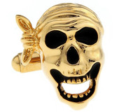 Black and Gold Pirate Skull Cufflinks (V-CF-M421-G)