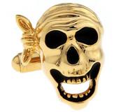 Black and Gold Pirate Skull Cufflinks (V-CF-M421-G)