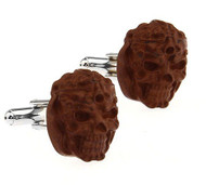 Creepy Brown Monster Head Cufflinks (V-CF-51617A)