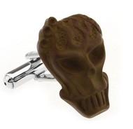 Creepy Brown Monster Skull Head Cufflinks (V-CF-51617D)
