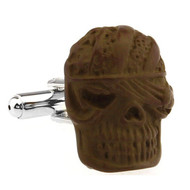 Creepy Brown Mummy Monster Head Cufflinks (V-CF-51617C)