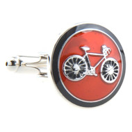 Red Enamel Bicycle Cufflinks (V-CF-E52977R)