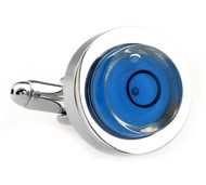 Blue Working Round Levelling Tool Cufflinks (V-CF-M80104BL)