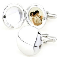 Photo Locket Silver Round Cufflinks (V-CF-M57362-S)