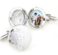 Photo Locket Silver Round Cufflinks (V-CF-M57363-S)