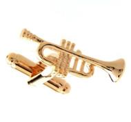 Gold Trumpet or Cornet Cufflinks (V-CF-52629G)