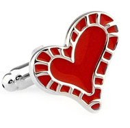 Fanciful Enameled Red Heart Cufflinks (V-CF-5-8140R)