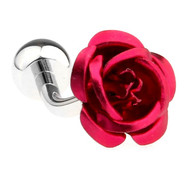Red Metal Rose Cufflinks (V-CF-50965R-S)