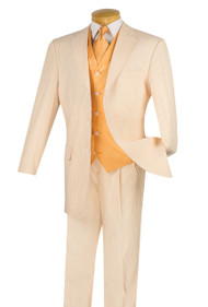 Pallini 3 Button with Vest 100% Cotton Seersucker Suit - Peach