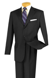 Lucci Black 3-Button with Pleated Slacks Classic Suit