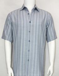 Bassiri Crepe Stripe Short Sleeve Camp Shirt - Light Blue